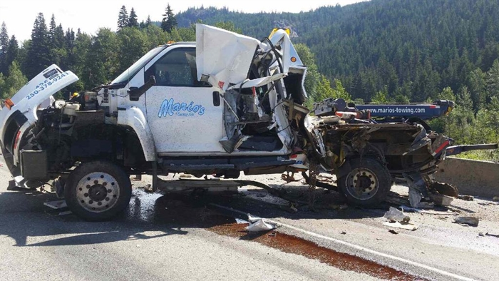 One of the vehicles involved in the crash on the Coquihalla Highway between Merritt and Hope, Saturday, June 27, 2015, is a tow truck.