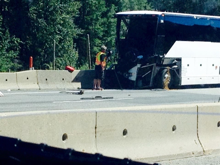 The tour bus involved in the crash is pictured in this contributed photo.