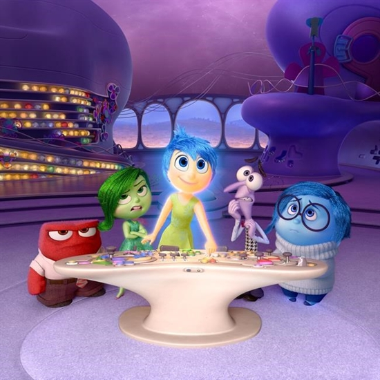 In this file image released by Disney-Pixar, characters, from left, Anger, voiced by Lewis Black, Disgust, voiced by Mindy Kaling, Joy, voiced by Amy Poehler, Fear, voiced by Bill Hader, and Sadness, voiced by Phyllis Smith appear in a scene from