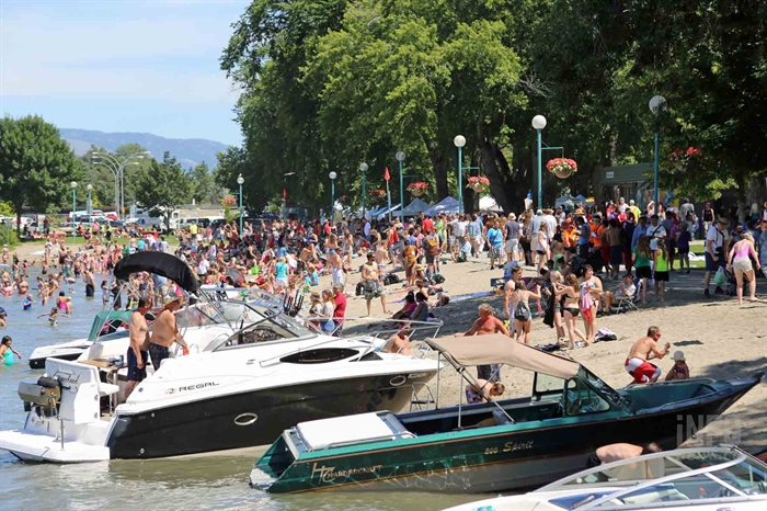 The beach and water park at Riverside Park are usually quite busy on Canada Day.