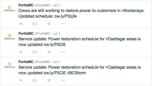 Sort through the corporate tweets from @FortisBC and you will find power outage updates.