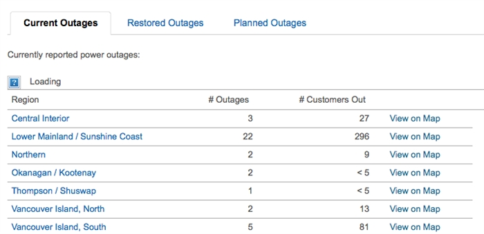 Outage information at a glance on B.C. Hydro's website.