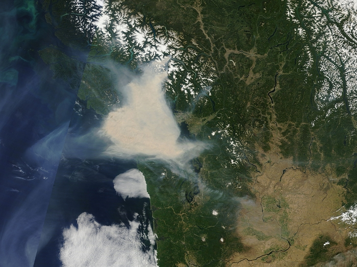 A plume of smoke moves over Vancouver Island in June.