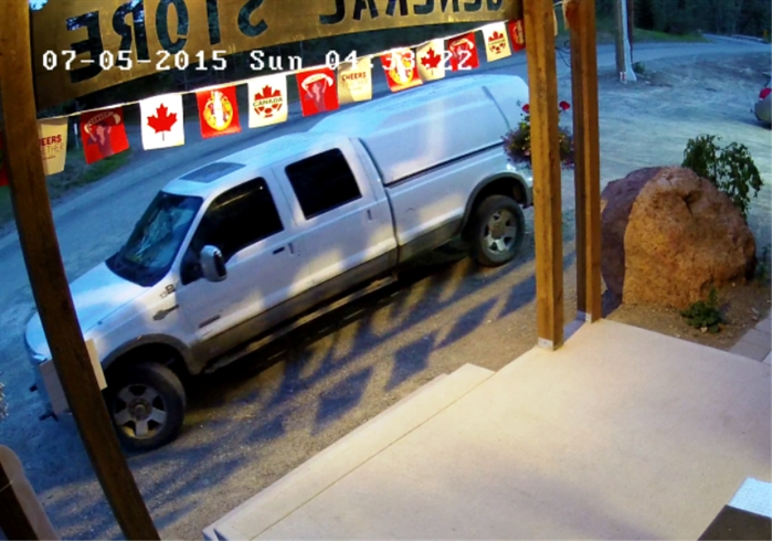 The vehicle used in a break and enter at Pinantan General Store this past weekend.