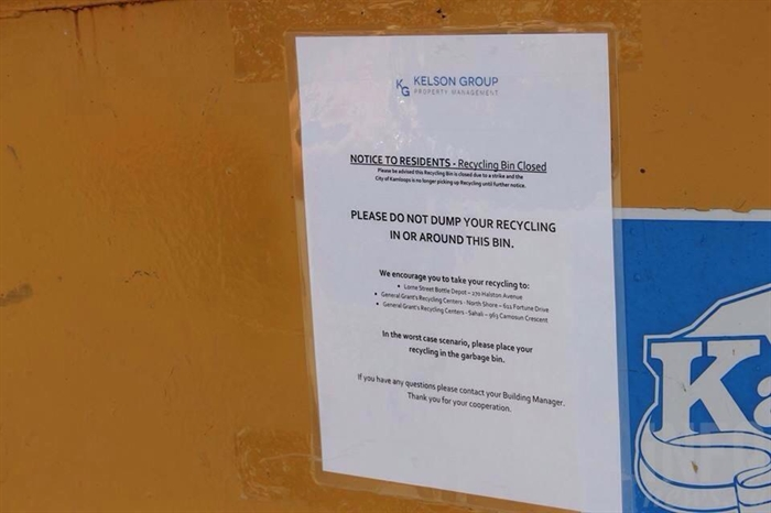 The notice on the Kelson Group dumpster.