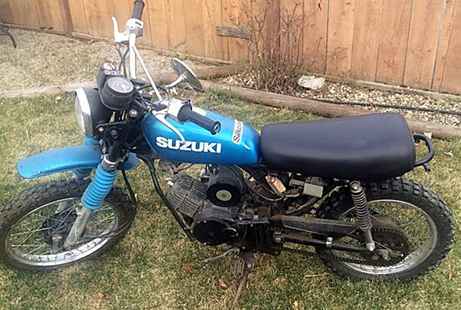 A vintage Suzuki dirtbike was stolen from a home in Lake Country June 28.
