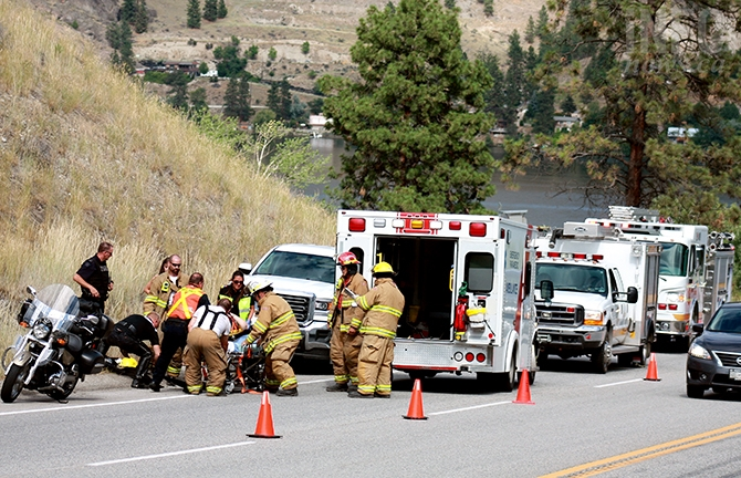 A motorcycle accident near Okanagan Falls sent one person to hospital this afternoon.