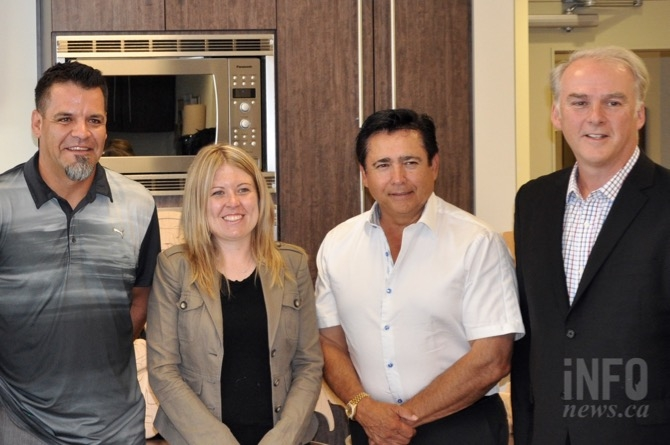 (LtoR) Westbank First Nation Coun. Mic Werstiuk, western diversification minister Michelle Rempel, WFN Chief Robert Louie and FPInnovations vice-president Pierre Lapointe.