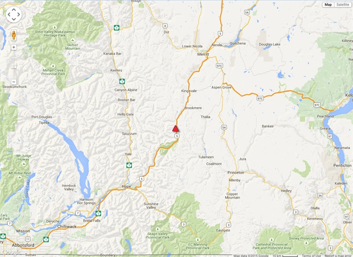 The Coquihalla Highway is closed in both directions between Merritt and Hope.