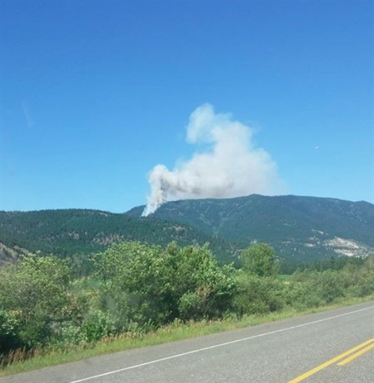 A wildfire was sparked just outside Falkland Monday afternoon, July 20, 2015.