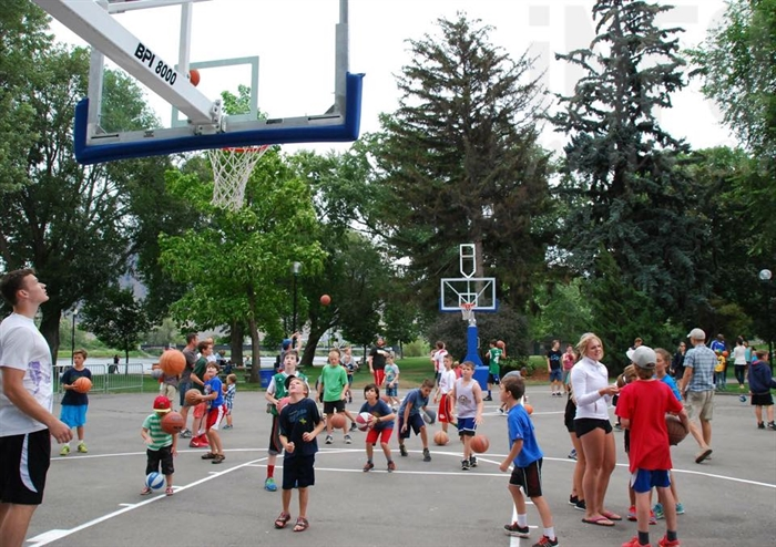 About 100 kids showed up to shoot hoops with Boston Celtic centre and Kamloops native Kelly Olynyk at Riverside Park, Friday, July 24, 2015.