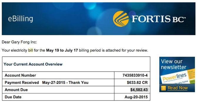 A screen capture of the Fortis B.C. e-bill submitted by Gary Fong.