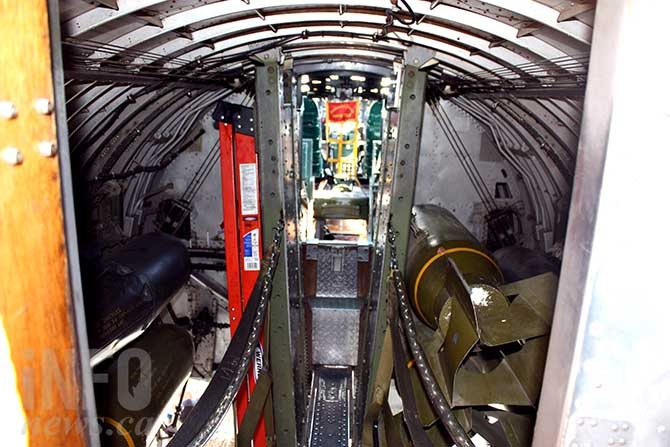 The B-17's bomb bay. The bomber could carry up to 8,000 pounds of bombs.