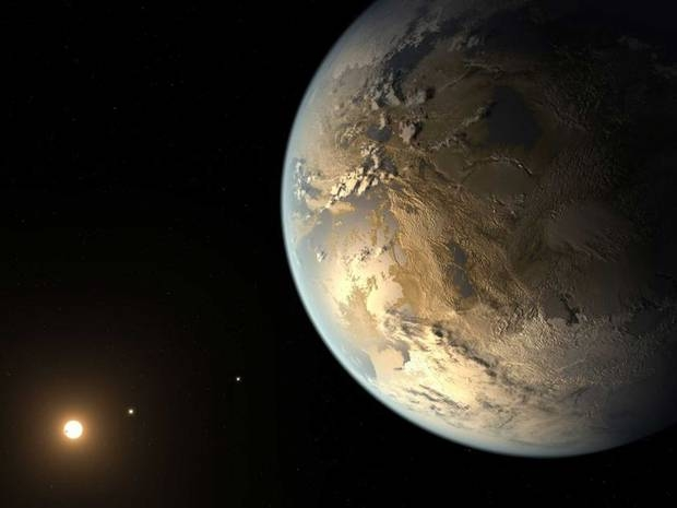 An artist's concept of Kepler-452b in orbit around its star Kepler-452.