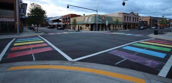 A rainbow crosswalk was installed at Lawrence Avenue and Pandosy Street in downtown Kelowna in 2015.