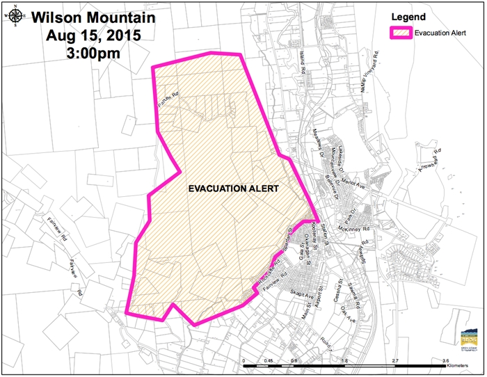 Wilsons Mountain fire evacuation alert