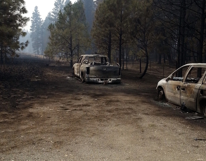 Some of the vehicles destroyed by the Rock Creek wildfire.