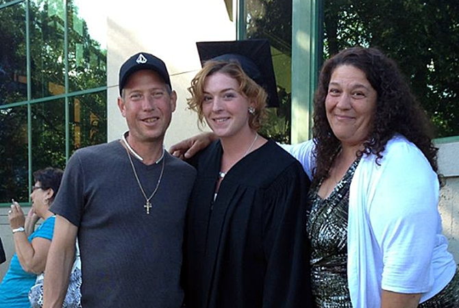 Eric Lavoie and his fiance Sophy Zaglis with daughter Christina Richard at her graduation.