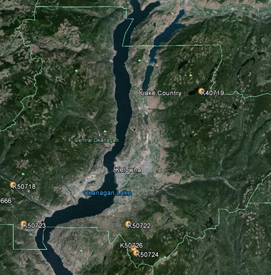 A map of active wildfires burning around the Central Okanagan.