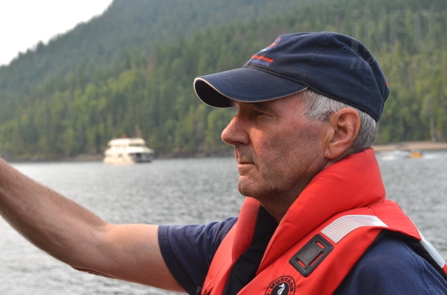 Rob Sutherland, a volunteer with Royal Canadian Marine Search and Rescue, overlooks the Cinnemousun Narrows, where the four arms of Shuswap Lake meet.