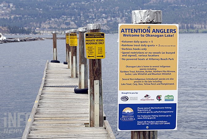 Signs at boat launches encourage responsible fishing in