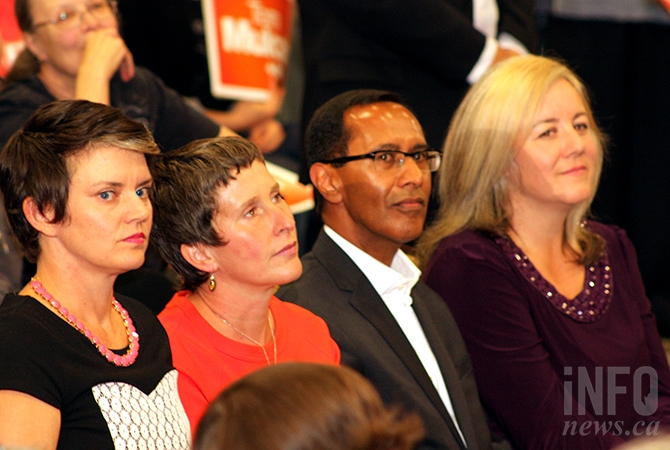 Regional NDP candidates, from left: Norah Bowman, Angelique Wood, Bill Sundhu and Jacqui Gingras.