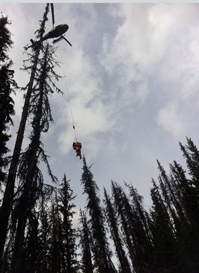 One of three men extracted from the woods of Manning Park on September 1.