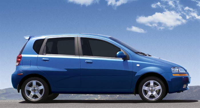 RCMP are on the lookout for a blue, 2006 Chevrolet Aveo similar to the one in the photo, which was hijacked from a pizza delivery man in Kamloops, Thursday, Sept. 3, 2015.