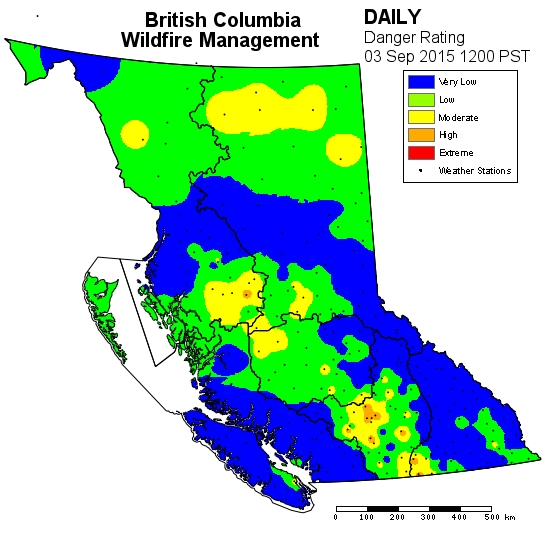 The fire danger rating has dropped throughout the province.