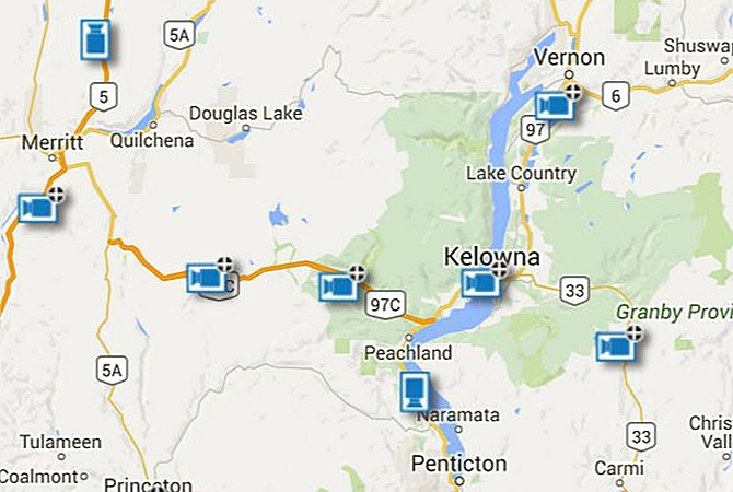 The locations of Drive B.C. webcams in the Okanagan and Nicola.