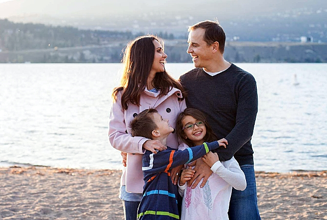 Liberal candidate Karley Scott and her family.