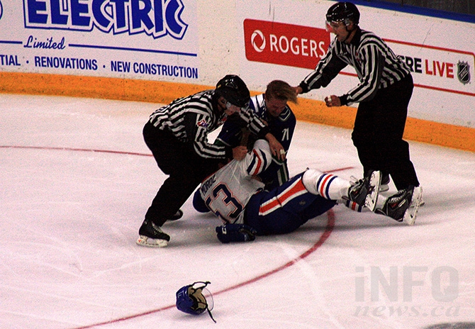 Fisticuffs broke out between Vancouver's Stewart Mackenzie and Edmonton's Mitchell Moroz.