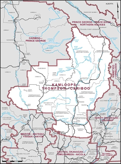Map of the Kamloops-Thompson-Cariboo riding