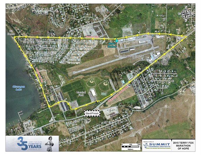 Course map for the 2015 Vernon Terry Fox Run.