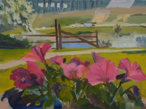 Fushia Petunias by Jayne Holsinger is part of the Plein Air exhibit at the Chazou Gallery.