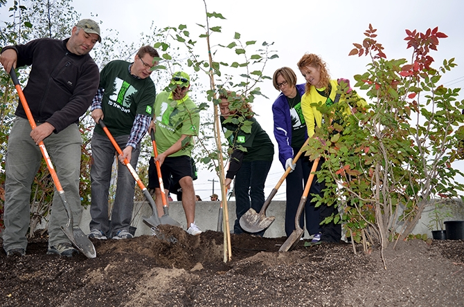 Native tree species were planted along Penticton Creek on Saturday. From left, Joe Enns from Okanagan Nation Alliance, Mayor Andrew Jakubeit, TD Branch Manager Doug Anderson, South Okanagan Conservation Program Manager and Penticton Creek Restoration Committee Chair Bryn White, Coun. Helena Konanz and Downtown Penticton Association Executive Director Kerri Milton marked the significant milestone by planting the first tree.