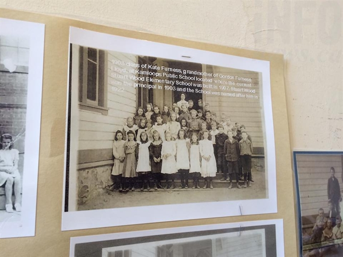 A photo of Lloyd's great grandmother Katie Furness and her class hangs in halls of Stuart Wood Elementary.
