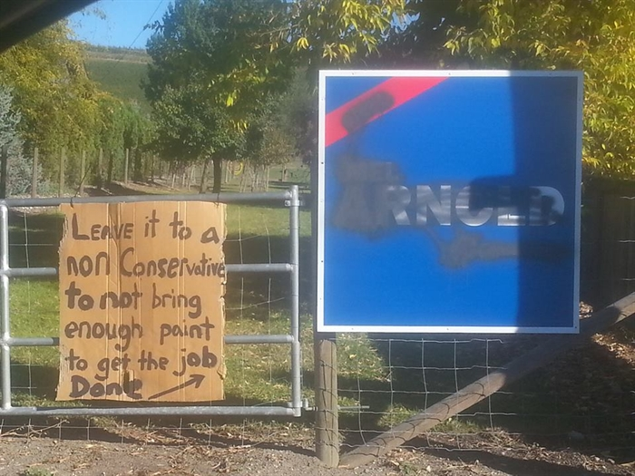 The Conservative sign displayed in Vernon resident Chris Van der Molen's yard was vandalized sometime overnight on Saturday, Oct. 3. His response wasn't to take it down, but to put up his own message.