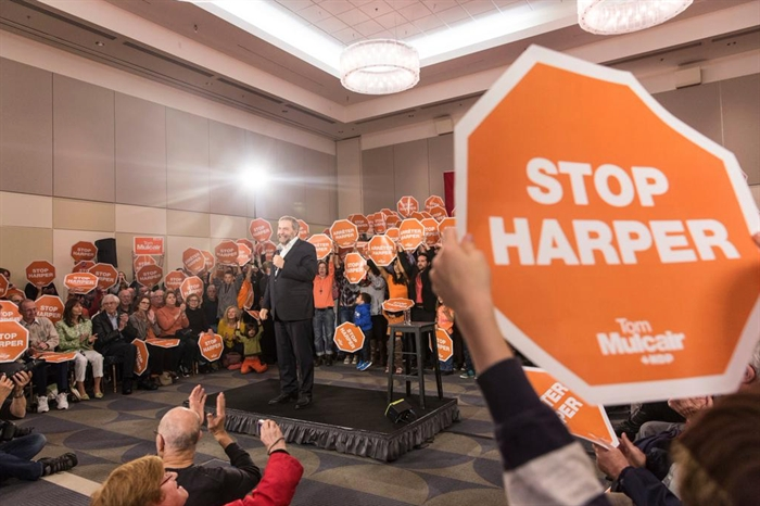 New Democrat leader Tom Mulcair is pictured at a rally on Vancouver Island, Monday, Oct. 12, 2015 in this contributed photo.