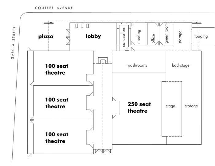 Floor plan's of Merritt's proposed performing arts centre.