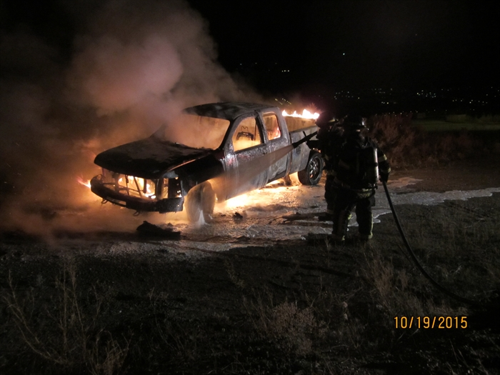Firefighters doused this vehicle fire on Monday, Oct. 19, 2015.