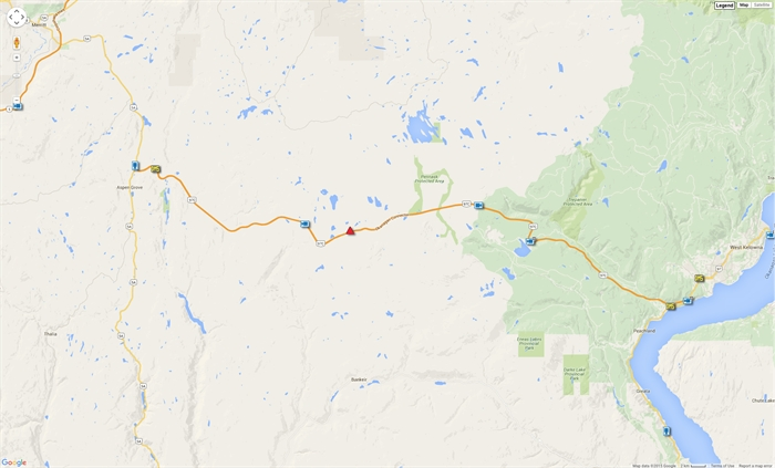 Approximate location of car crash and road closure on Highway 97C.