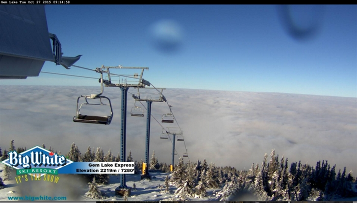 Snow has covered the upper elevations at Big White.