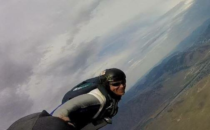 Hurlbut flying in one of his wingsuits.