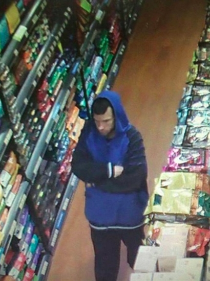Video surveillance at Bosley's pet store in Vernon caught this man leaving the store with a tray of poppy pins and a donation jar on Monday, Nov. 2, 2015.