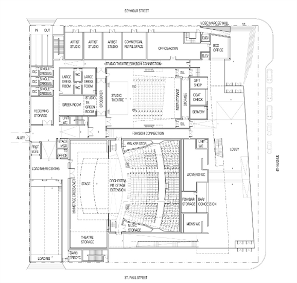 Potential floor plan for the performing arts centre.