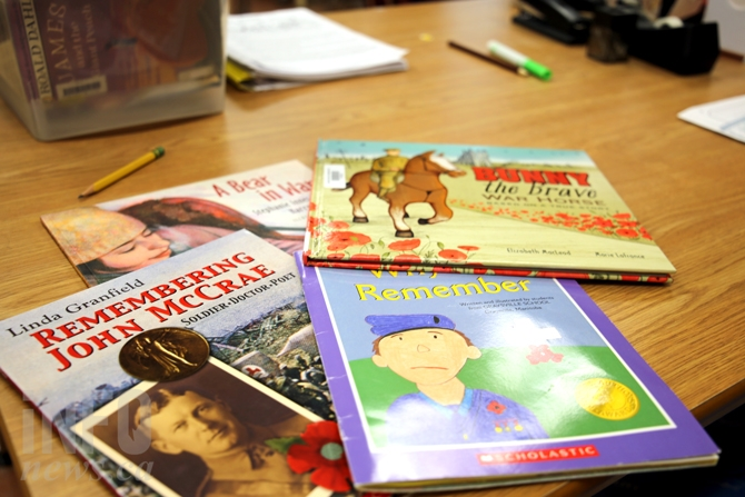 Some of the books being read in Mrs. Johnson's Grade 3 class ahead of Remembrance Day.