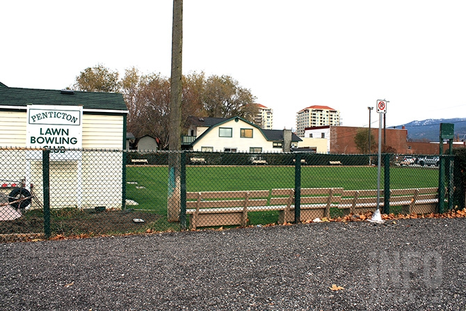 Plans call for construction of low cost housing units to begin next summer on  the parking lot used by the Penticton Lawn Bowling Club, shown here in the foreground.