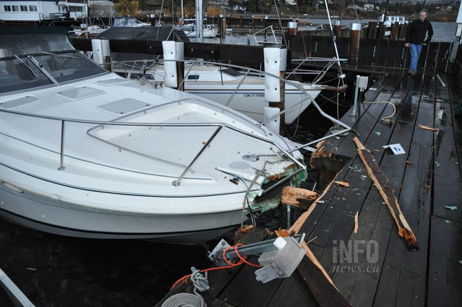 Boats and docks were damaged in the windstorm.