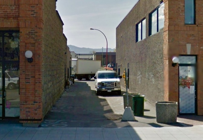 The alleyway off Bernard Avenue is under consideration for development as an urban park.